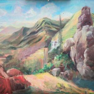 カイルア丘の上の家とALALA(油絵)