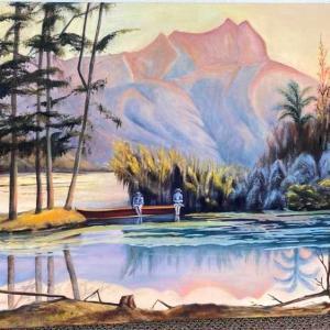 カピオラニ公園の小川と池‐1900年頃(油絵)