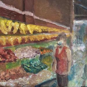 ホノルル・チャイナタウン(油絵)