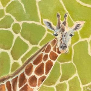 ホノルル動物園のキリン(油絵)
