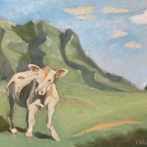 クアロアランチの子牛(油絵)