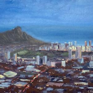 タンタラスの丘からの夜景(油絵)