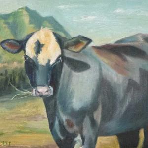 クアロアランチの牛(油絵)