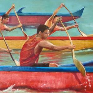 ハワイ・ハイスクール・カヌーレース(油絵)