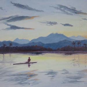 アラワイ運河の朝(油絵)