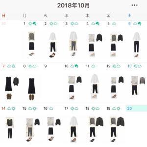【10/1〜19のコーディネート】着た服は全部で12着でした。