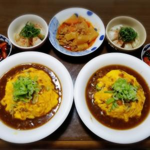 【家ごはん】 肉味噌で簡単天津飯♪ [レシピ] 玉ねぎのレンジ蒸し / 肉味噌天津飯