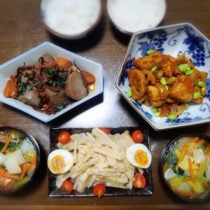 【家ごはん/献立】 酢鶏風♪ [レシピ] 里芋とスルメの甘辛煮 / 鶏むね肉と蓮根の甘酢炒め / 春雨野菜スープ