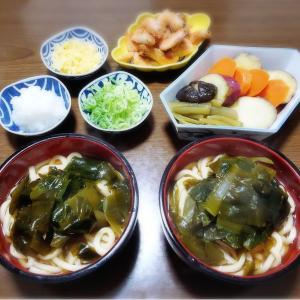 【家ごはん/ 献立】 ワカメどっさり!! ワカメうどん [レシピ] フキとサツマイモの煮物