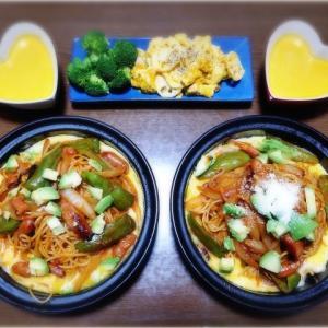 【家ごはん】 鉄板イタリアン(ナポリタン) と カボチャスープ☆ * ソーセージのトマト煮込みパスタ