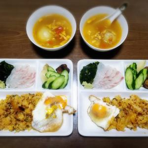 【家ごはん】 炒飯のワンプレートご飯と 丸ごと玉ねぎ料理レシピ 2日分