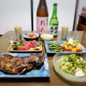 【家飲み】 激安マグロと 日本酒 * 花邑 純米 陸羽田 生酒 * 横山五十 純米大吟醸 WHITE 直汲み生酒