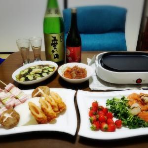 【家飲み】 豚ネギマと 日本酒 * 梅乃宿 彩 純米 赤ラベル / 黒龍 垂れ口 本醸造