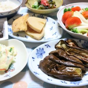 皮つきナスに黒豆納豆、野菜ばかりの和食ベジタリアンメニュー