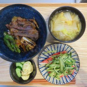 炙り焼肉丼の献立(2019年9月13日の昼ごはん)