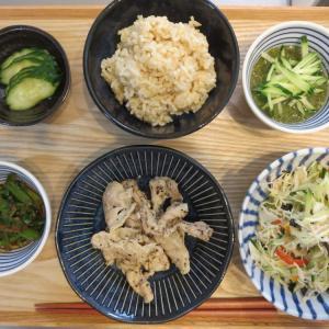 豚肉の香草焼きの献立(2019年10月7日の昼ごはん)、みきママレシピ本からアレンジ
