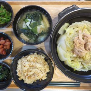 白菜とツナの蒸し鍋の献立(2019年12月3日の夜ごはん)