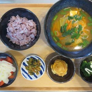 キムチスープの献立(2020年1月17日の朝ごはん) 冷凍ニラ
