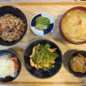 鶏チャーシューとスナップエンドウの炒め物の献立(2020年1月19日の朝ごはん)