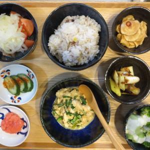 豆腐とニラの炒め物と明太子の献立(2020年2月16日の朝ごはん)