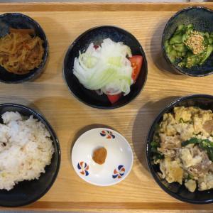 豆腐とニラの炒め物の献立(2020年8月4日の朝ごはん)|スポンジホルダー(100円ショップ、セリア)