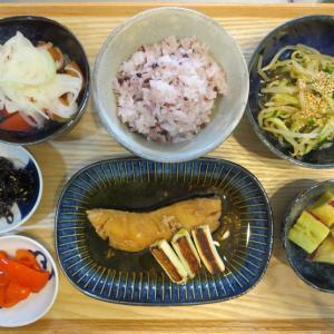 たらの煮魚(焼きネギ添え)の献立(2020年9月17日の朝ごはん)