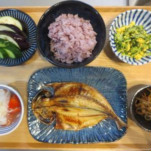 焼魚(鯵の開き)の献立(2019年8月20日の朝ごはん) 研いだお米の保存方法、我が家の場合