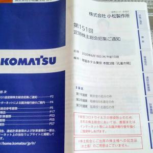 小松製作所、ファンケル、日本管財から定時株主総会招集通知