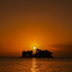 宍道湖の夕陽。