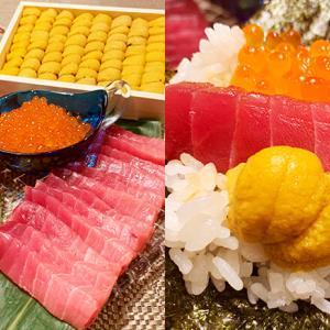 お取り寄せ:「あての極み」超豪華!豊洲市場のプロ厳選・箱うに、まぐろ、いくらの手巻き寿司セット☆
