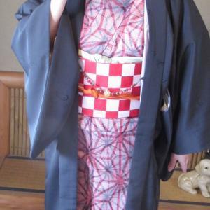手持ちの着物で「鬼滅の刃」禰豆子のコーディネートをしてみました♪