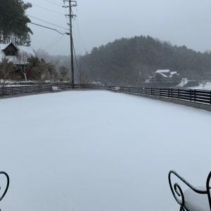 外は雪吹雪いています