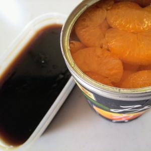 黒糖ゼリーとみかんの缶詰めゼリーで涼む~🎐