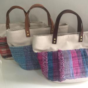 さをり織り×帆布のトートバッグ、再販します♪