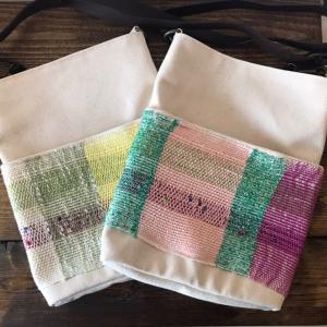 *さをり織り×帆布のポシェットが新たに出来上がりました*