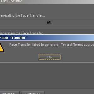 Face Transfer failed to generate. DAZ STUDIOのFace Transferでエラー