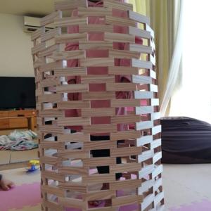 からから積み木で遊んだよ!作りたい壊したいに子供も大人も我慢ができない