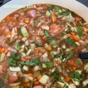 取り分け離乳食に、みじん切りスープを作りまくっています。
