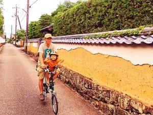 萩の武家屋敷をBROMPTONと親子ポタリングツアー