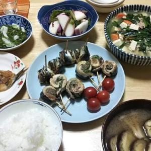 5月27日の献立(豆腐とニラの煮物&イワシ梅シソ焼き)