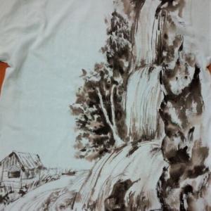 滝と庵の手描きシャツ