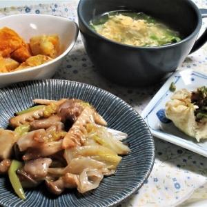 11月1日の母の夕食 肉まんと中華炒めなど
