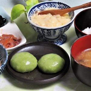 2月27日の母の夕食 ほうれん草餃子など