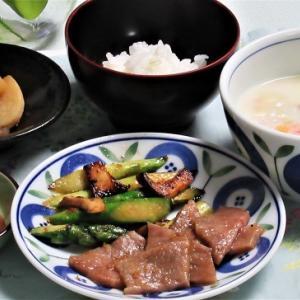3月29日の母の夕食 牛肉のソテーなど