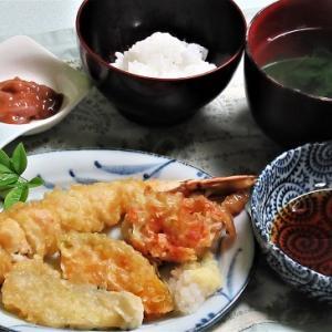 5月31日の母の夕食 天ぷらなど