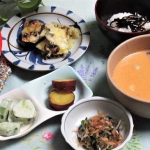 7月15日の母の夕食 ナスとポテトのチーズグラタンなど