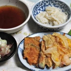 9月6日の母の夕食 冷や麦天ぷら添え