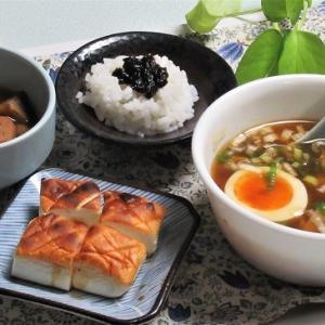 9月19日の母の夕食 つけ麺風スープなど