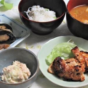 10月15日の母の夕食 鶏もも肉の粕漬けなど