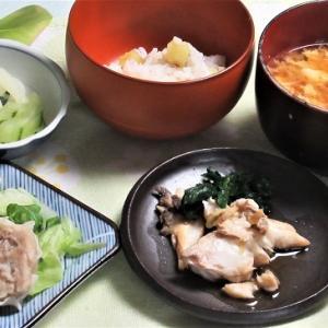1月18日の母の夕食 鯛のアラ煮など